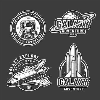 Conjunto de emblemas de exploração espacial vintage