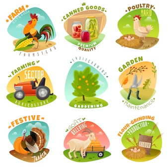 Conjunto de emblemas de fazenda