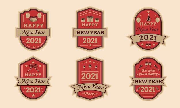 Conjunto de emblemas de feliz ano novo 2021