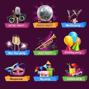 Conjunto de emblemas de festa