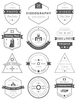Conjunto de emblemas de fotografia e videografia