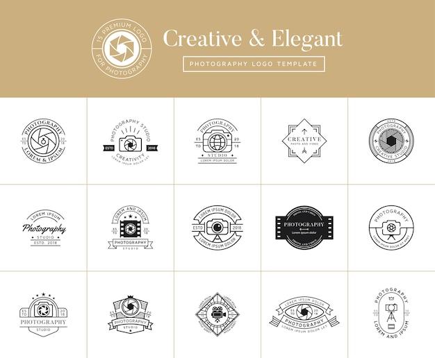 Conjunto de emblemas de fotografia premium, emblemas e logotipo