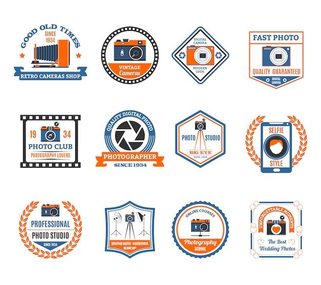 Conjunto de emblemas de fotografia