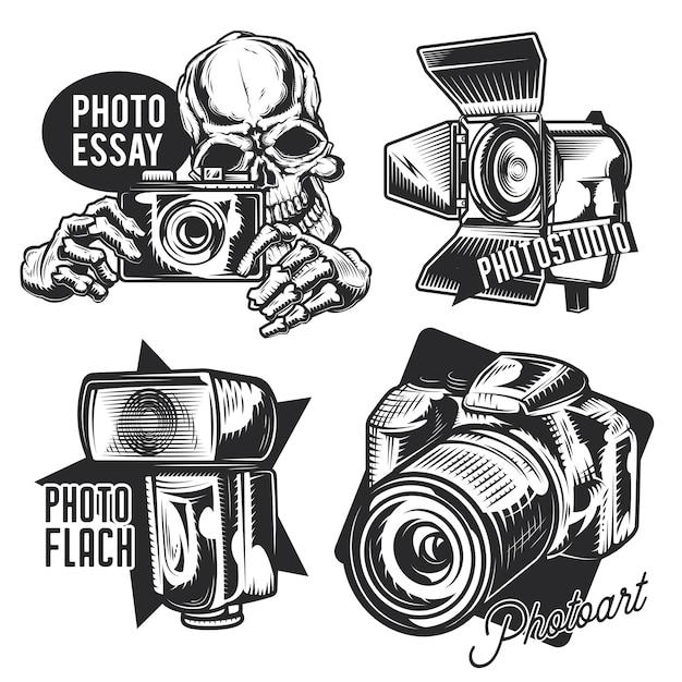 Conjunto de emblemas de fotógrafo, etiquetas, emblemas, logotipos.