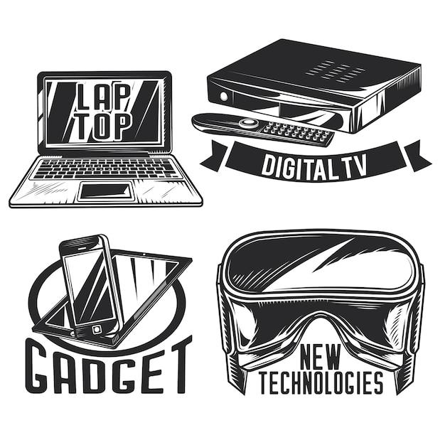 Conjunto de emblemas de gadgets, etiquetas, emblemas, logotipos.