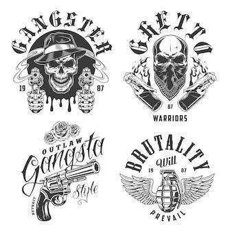 Conjunto de emblemas de gangster