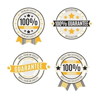 Conjunto de emblemas de garantia de cem por cento