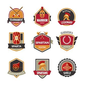 Conjunto de emblemas de gladiador