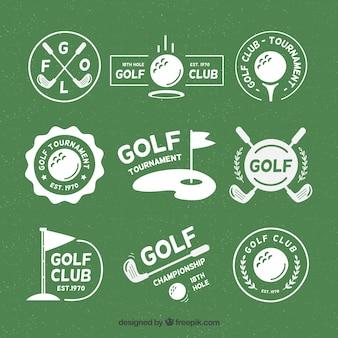 Conjunto de emblemas de golfe em estilo plano