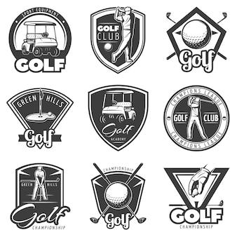 Conjunto de emblemas de golfe vintage
