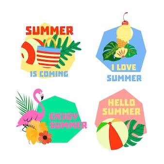 Conjunto de emblemas de horário de verão mão desenhada