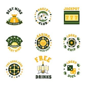 Conjunto de emblemas de ícones de cassino