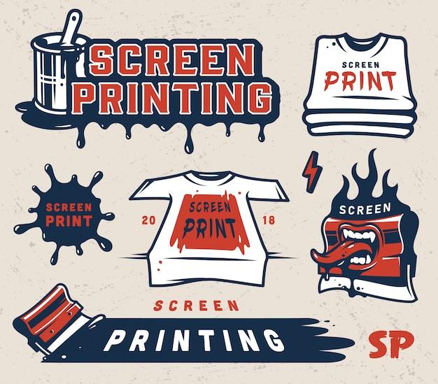 Conjunto de emblemas de impressão de tela vintage