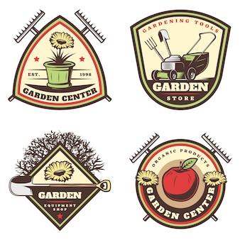Conjunto de emblemas de jardinagem coloridos vintage