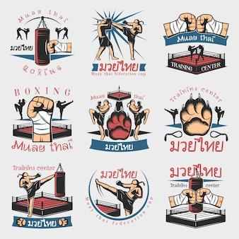 Conjunto de emblemas de kickboxing colorido