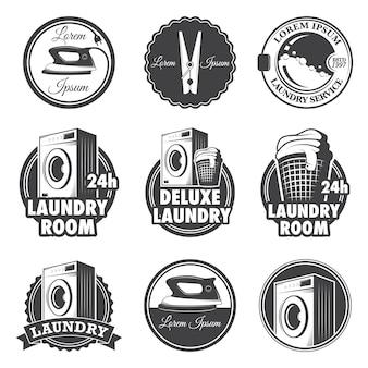 Conjunto de emblemas de lavanderia vintage, etiquetas e elementos desenhados.