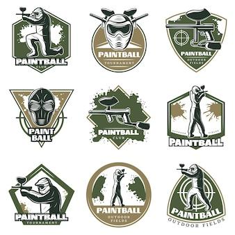Conjunto de emblemas de lazer ativo vintage colorido