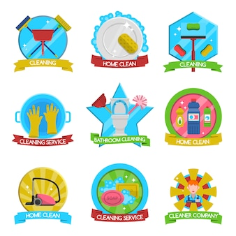 Conjunto de emblemas de limpeza