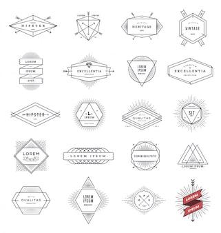 Conjunto de emblemas de linha de estilo hippie e sinais com sunburst - ilustração