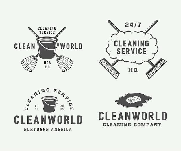 Conjunto de emblemas de logotipo de limpeza retrô