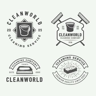 Conjunto de emblemas de logotipo de limpeza