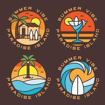Conjunto de emblemas de logotipo de praia e surf