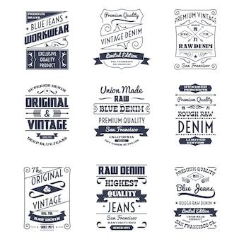 Conjunto de emblemas de logotipo de tipografia de jeans