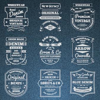 Conjunto de emblemas de logotipo de tipografia jeans de brim