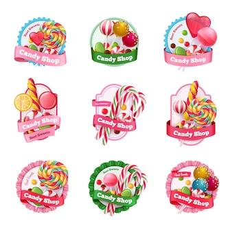 Conjunto de emblemas de loja de doces