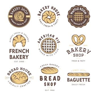 Conjunto de emblemas de loja de padaria estilo vintage e logotipo.