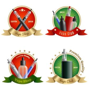 Conjunto de emblemas de loja vape