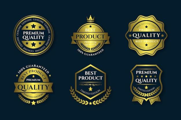 Conjunto de emblemas de luxo gradiente dourado