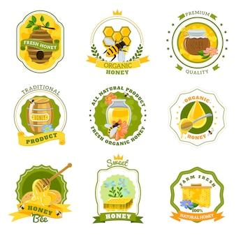 Conjunto de emblemas de mel