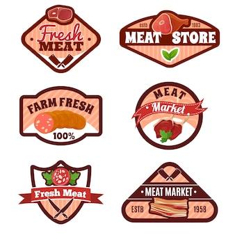 Conjunto de emblemas de mercado de carne