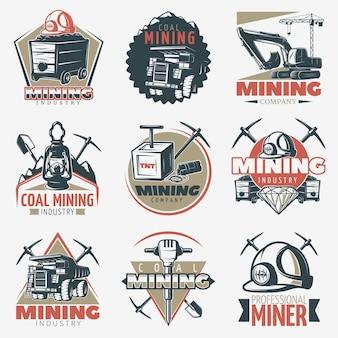Conjunto de emblemas de mineração de carvão