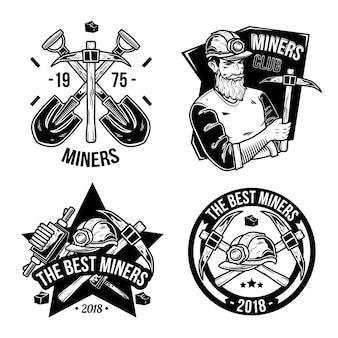 Conjunto de emblemas de mineração vintage