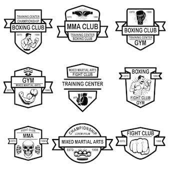 Conjunto de emblemas de mma e clube de boxe