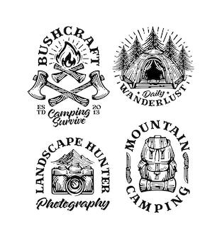 Conjunto de emblemas de montanha com logotipo de acampamento vintage etiquetas desenhadas à mão