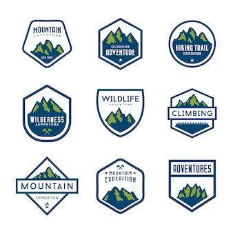 Conjunto de emblemas de montanha