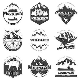 Conjunto de emblemas de montanhas vintage