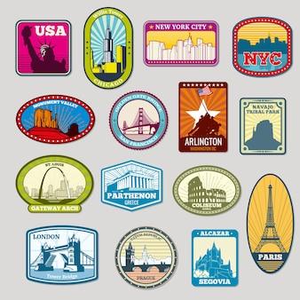 Conjunto de emblemas de monumentos e pontos de referência mundialmente famosos
