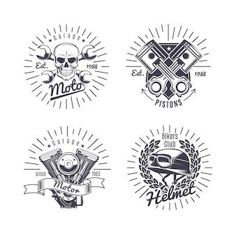 Conjunto de emblemas de motocicleta monocromática vintage
