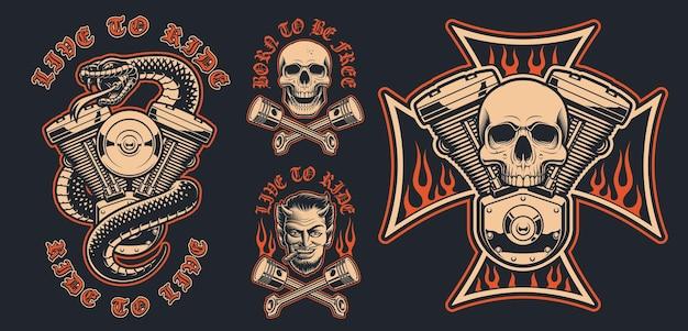 Conjunto de emblemas de motociclista em um fundo escuro. essas ilustrações vetoriais são perfeitas para designs de vestuário, logotipos e muitos outros usos.