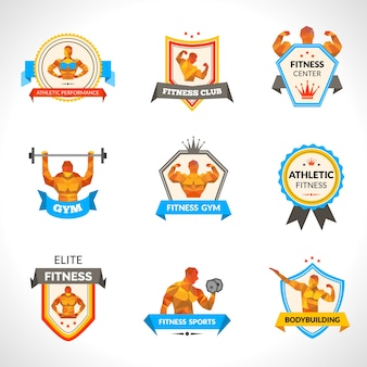 Conjunto de emblemas de musculação