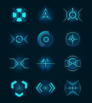 Conjunto de emblemas de néon futurista