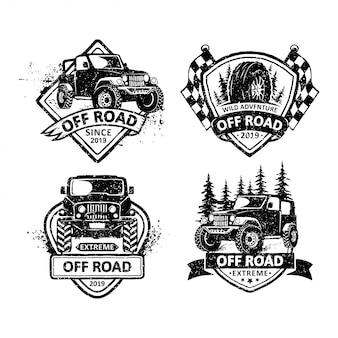 Conjunto de emblemas de offroad vintage etiquetas, emblemas e logotipo