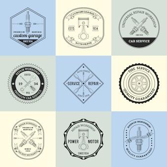 Conjunto de emblemas de oficina de reparação