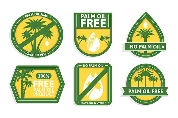 Conjunto de emblemas de óleo de palma plana