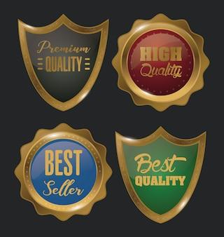 Conjunto de emblemas de ouro