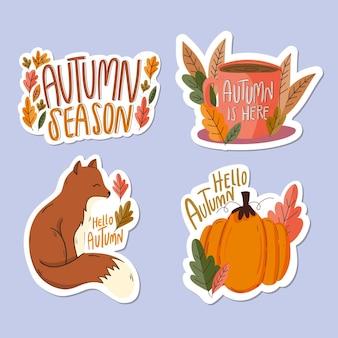 Conjunto de emblemas de outono de design plano